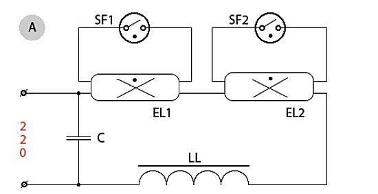 Наиболее распространенными являются светильники с двумя люминесцентными лампами, которые соединены между собой...