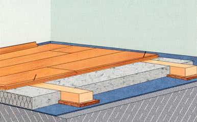 Укладка массивной доски по бетонным перекрытиям