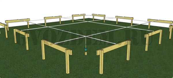 Разметка центров столбов фундамента