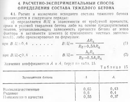 Расчет В/Ц водоцементного соотношения