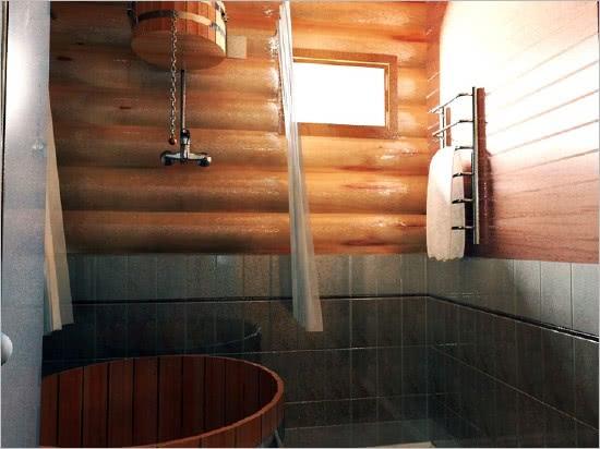 Плитка на стенах в бане