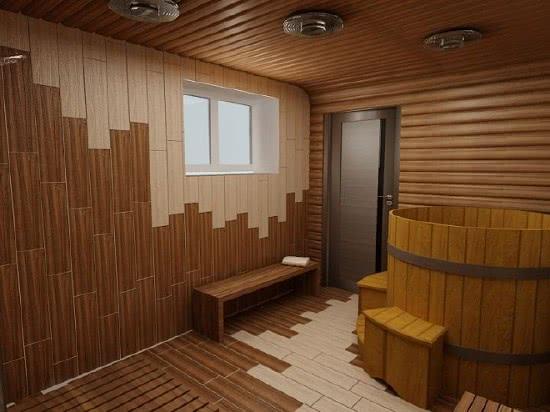 Дизайн бани отделанной плиткой